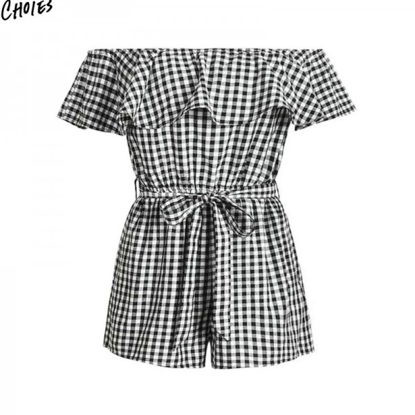 Black and White Plaid Off the Shoulder Ruffles Tie Waist Playsuit Women Summer Short Sleeve Casual Beach New Romper Extra Image 6