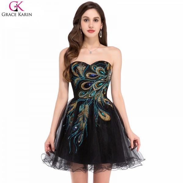 Buy Black Cocktail Dresses Tulle Applique Strapless Black Wedding