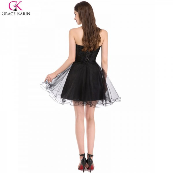 Black Cocktail Dresses Tulle Applique Strapless Black Wedding Party Formal Gowns Special Occasion Party Dress Extra Image 2