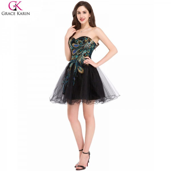 Black Cocktail Dresses Tulle Applique Strapless Black Wedding Party Formal Gowns Special Occasion Party Dress Extra Image 4