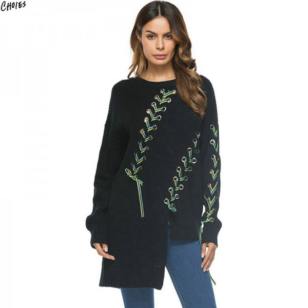 Black Contrast Lace Up Jumper Asymmetric Hem Longline Knitted Sweater Women Long Sleeve Casual Loose Autumn Pullover Extra Image 1