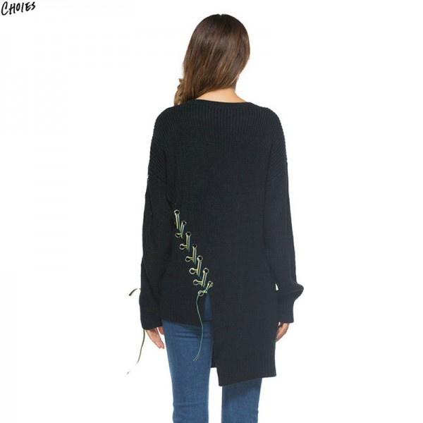 Black Contrast Lace Up Jumper Asymmetric Hem Longline Knitted Sweater Women Long Sleeve Casual Loose Autumn Pullover Extra Image 4