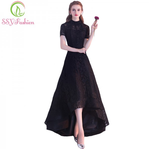 Black Evening Dress The Bride Banquet Elegant Lace Party Gown High Low Short Front Long Back Formal Dress Custom Extra Image 1