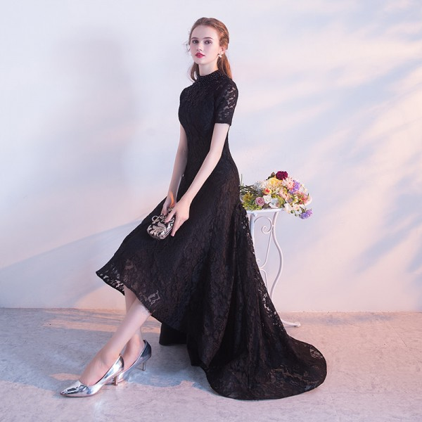 Black Evening Dress The Bride Banquet Elegant Lace Party Gown High Low Short Front Long Back Formal Dress Custom Extra Image 3
