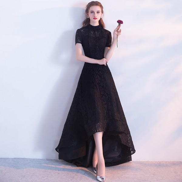 1384d05f5e Buy Black Evening Dress The Bride Banquet Elegant Lace Party Gown High Low  Short Front Long Back Formal Dress Custom