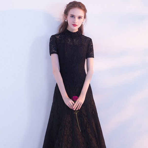 Black Evening Dress The Bride Banquet Elegant Lace Party Gown High Low Short Front Long Back Formal Dress Custom Extra Image 5