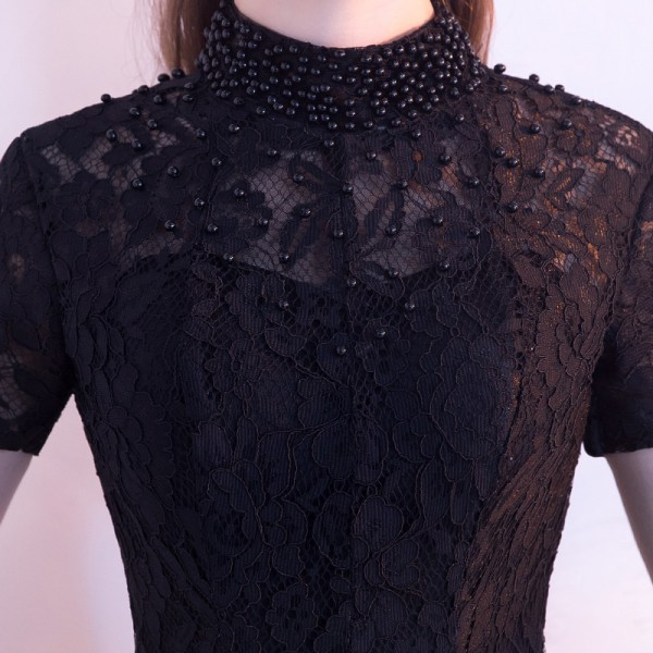 Black Evening Dress The Bride Banquet Elegant Lace Party Gown High Low Short Front Long Back Formal Dress Custom Extra Image 6