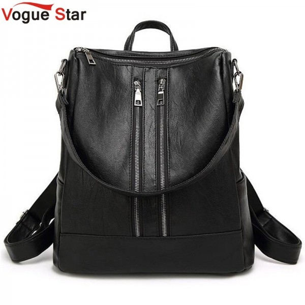 Black Leather Backpack New Arrival Women Bags Simple Casual School College Backpack Top Quality Leather Handbags Extra Image 1