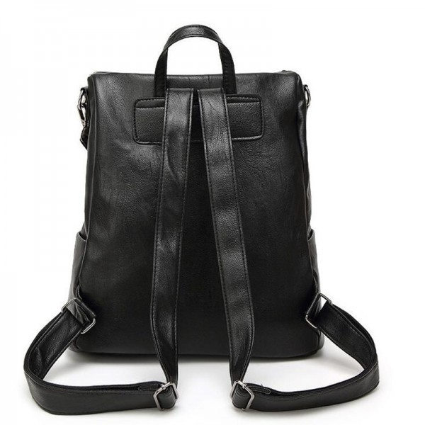Black Leather Backpack New Arrival Women Bags Simple Casual School College Backpack Top Quality Leather Handbags Extra Image 4