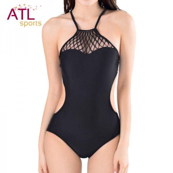 c961fb40c Black Mesh Bikini Strappy Halter Swimwear For Female One Piece Sexy Black  Mesh Monokini Unwired Beachwear ...