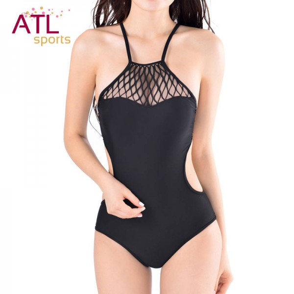 Black Mesh Bikini Strappy Halter Swimwear For Female One Piece Sexy Black Mesh Monokini Unwired Beachwear Extra Image 3