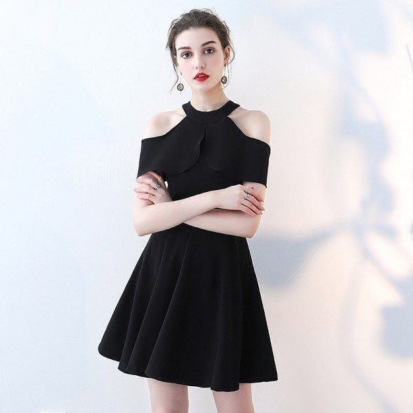 b99b5cec12 Buy Black New Sleeveless Halter Graduation Frock Simple Satin Knee Length  Zipper Quality Sexy Short Graduation Dress