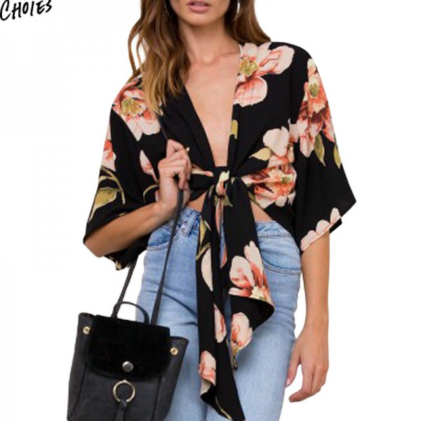 Black Plunge Floral Print Bow Knot Front Crop Chiffon Blouse Summer Half Sleeve Deep V Neck High Streetwear Blouses Extra Image 3