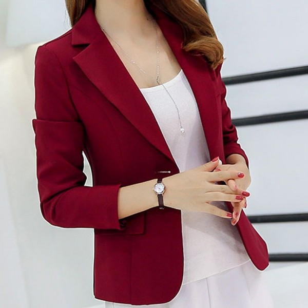 Black Single Button Ladies Blazers Women Spring Autumn Office Lady Korean Suit Jackets Blazer Femme Office Tops Coats Extra Image 2