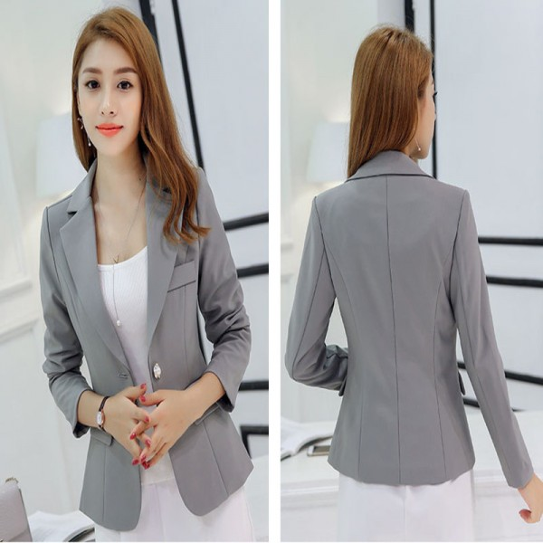 Black Single Button Ladies Blazers Women Spring Autumn Office Lady Korean Suit Jackets Blazer Femme Office Tops Coats Extra Image 3