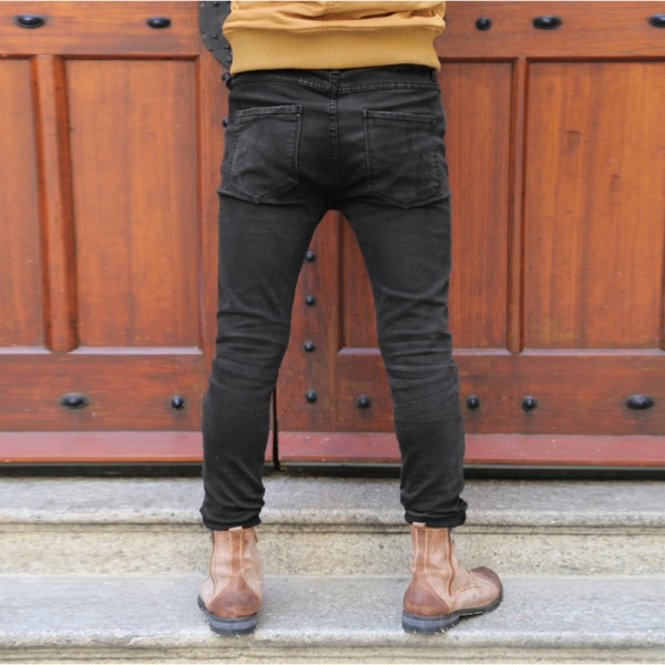 Black skinny jeans men solid denim ripped jeans for men new casual stretch man brand jeans Cotton pantalon homme Extra Image 2