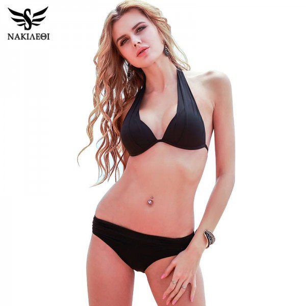 b0583b8ff529e Black Two Piece Bikini Swimsuit Sexy Brazilian Retro Summer Beach Suit