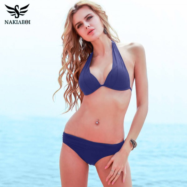 Black Two Piece Bikini Swimsuit For Women Push Up Sexy Brazilian Halter Retro Plus Size Summer Beach Suit Extra Image 2