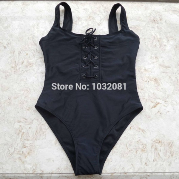 02c2ac982d Black White Red Lace Up Corset Swimsuit Bathing Suit Beach Suit ...