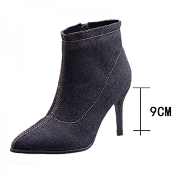 Blue Denim Boots for Women High heels Ladies Boots Ankle Zipper Solid Color Pointed Toe Thick heel and Thin Heels Shoes Extra Image 3