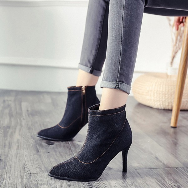 Blue Denim Boots for Women High heels Ladies Boots Ankle Zipper Solid Color Pointed Toe Thick heel and Thin Heels Shoes Extra Image 5