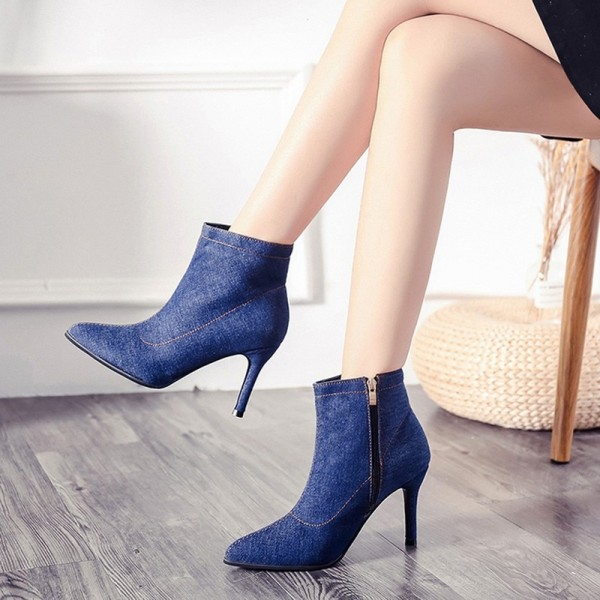 Blue Denim Boots for Women High heels Ladies Boots Ankle Zipper Solid Color Pointed Toe Thick heel and Thin Heels Shoes Extra Image 6