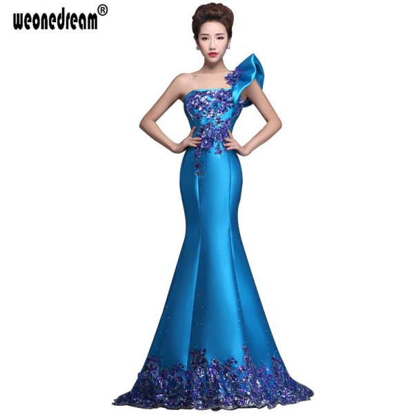 Blue Long Evening Dress New Dress Fashion Trailing One Shoulder Mermaid Formal Gown Prom Dress For Women Thumbnail