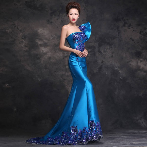 381ffd846a6b ... Blue Long Evening Dress New Dress Fashion Trailing One Shoulder Mermaid  Formal Gown Prom Dress For; Extra Images 0 Extra Images 0; Extra Images 1  ...