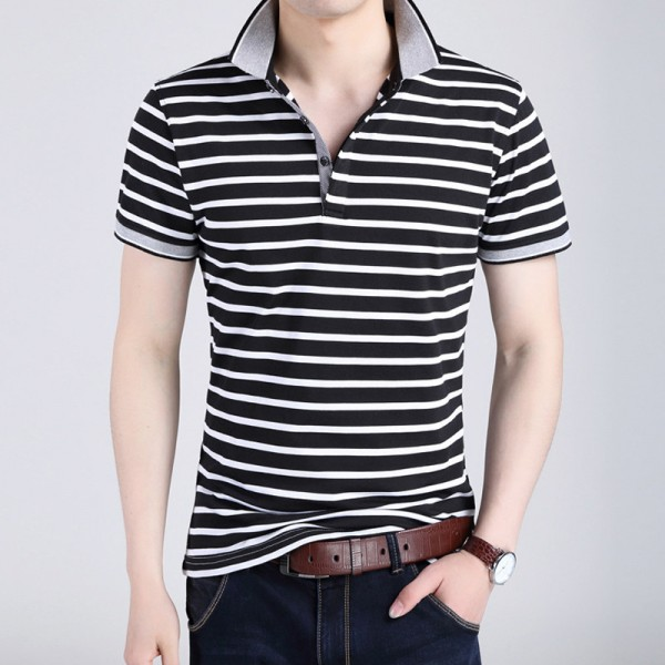 Body Repair Striped Turn Down Collar Striped Tee Shirts Short Sleeve T Shirt Men Pure Cotton Thin Section T Shirt Extra Image 2