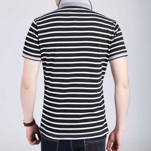 Body Repair Striped Turn Down Collar Striped Tee Shirts Short Sleeve T Shirt Men Pure Cotton Thin Section T Shirt Extra Image 3