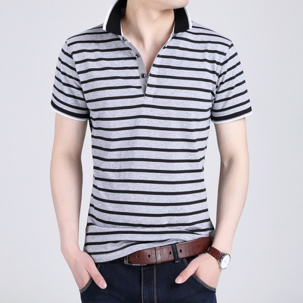 Body Repair Striped Turn Down Collar Striped Tee Shirts Short Sleeve T Shirt Men Pure Cotton Thin Section T Shirt Extra Image 6