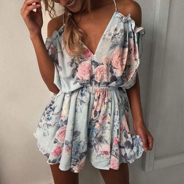 Bohemian Loose Strap Playsuit Print Big Pink Flower Floral Ruffles Short Pant Jumpsuit Rompers Women Overalls Bodysuit Extra Image 2