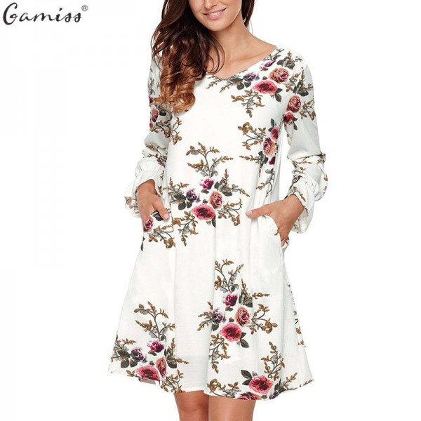 Boho Floral Print Chiffon Dress Autumn Casual Cocktail Long Sleeve V Neck Loose Vestidos Backless Knee Length Dress Extra Image 1