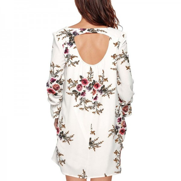 Boho Floral Print Chiffon Dress Autumn Casual Cocktail Long Sleeve V Neck Loose Vestidos Backless Knee Length Dress Extra Image 3