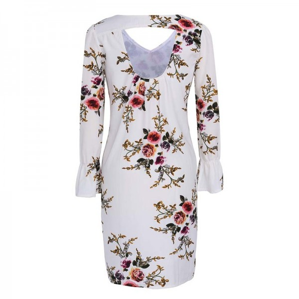 Boho Floral Print Chiffon Dress Autumn Casual Cocktail Long Sleeve V Neck Loose Vestidos Backless Knee Length Dress Extra Image 5
