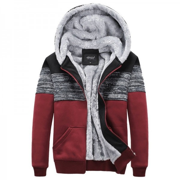 Bomber Jacket Men Thick Windbreaker Overcoat Winter Warm Patchwork Mens Jackets Casual Hooded Male Brand Clothing Extra Image 4