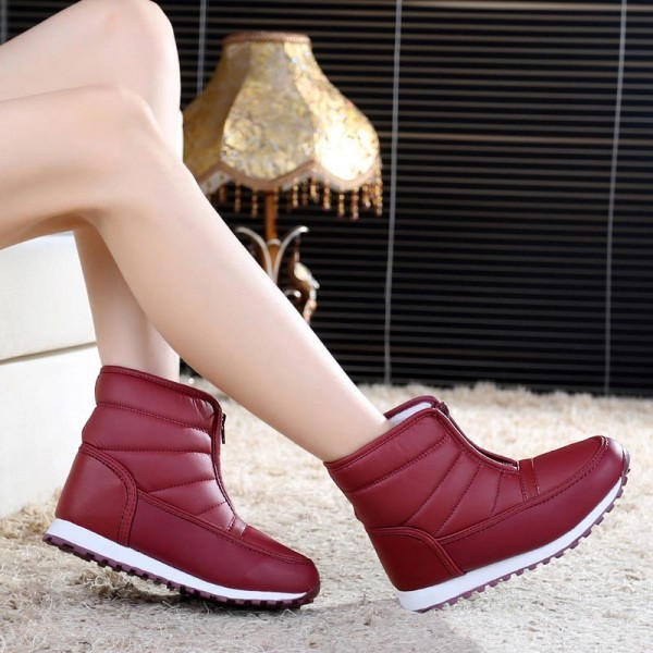 Boots women convenient zipper ladies shoes woman cozy plush keep warm snow boots pu leather waterproof winter boots Extra Image 2