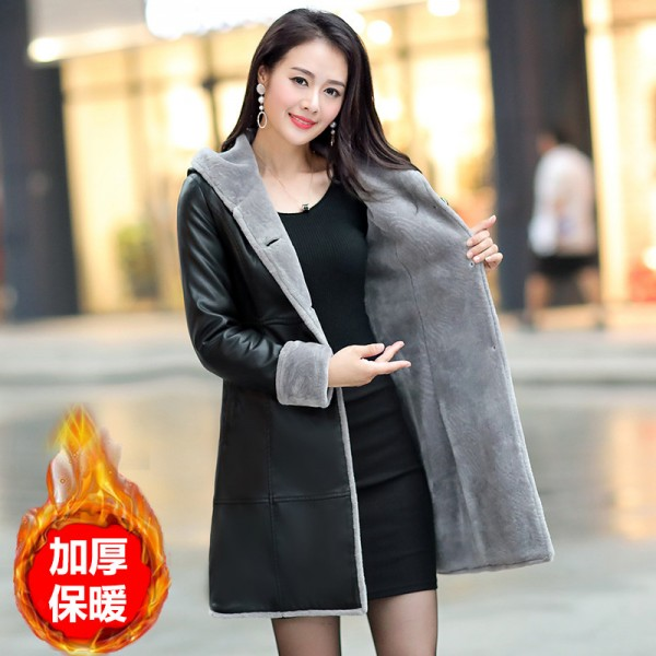 Boutique Women Winter Leather Jacket Fur Together Coats Medium Length Hooded Trench Plus Size Thick Leather Jackets Extra Image 1