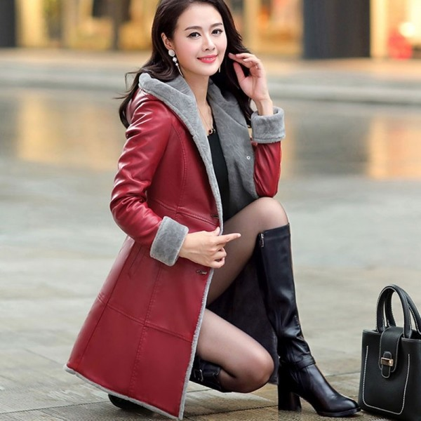 Boutique Women Winter Leather Jacket Fur Together Coats Medium Length Hooded Trench Plus Size Thick Leather Jackets Extra Image 3