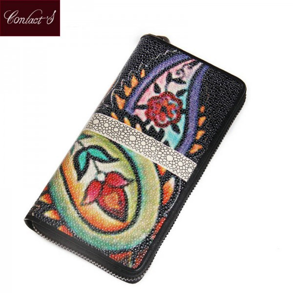 Brand New Folk Custom Wallets For Women Floral Print New Design Zip Around Cell Phone Wallets Thumbnail