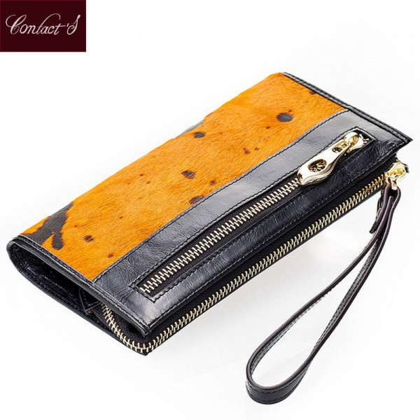 Brand New Women Clutch Wallet With Wristlet Genuine Leather Zip Pocket High Capacity For Women Thumbnail
