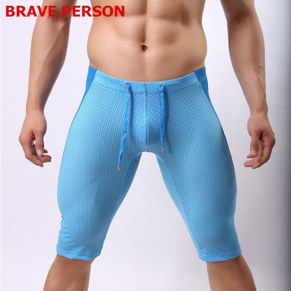 Brave Person Shorts Fit Gym Fitness Beach Wear Swim Shorts Men Swimwear Low Rise Mesh long Swimming Trunks Extra Image 1