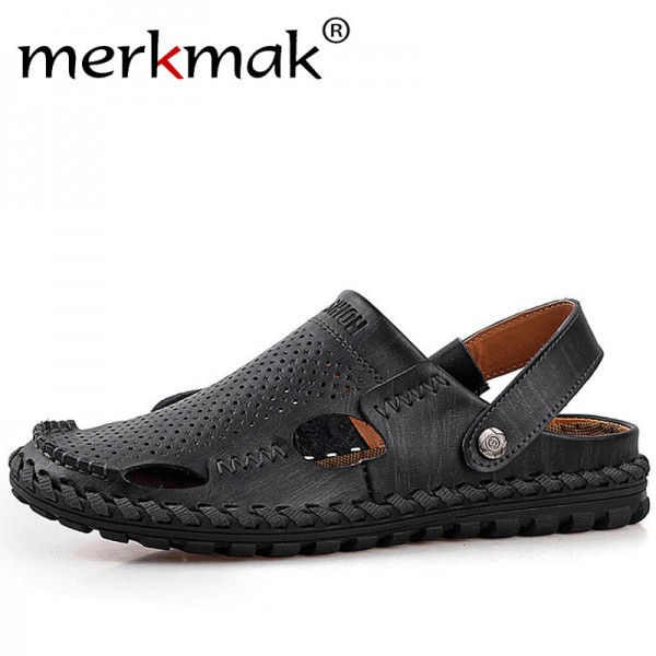 Breathable Summer Roman Men Sandals Genuine Leather Male Beach Shoes Outdoor Slippers Soft Rubber Sandal For Man Extra Image 1
