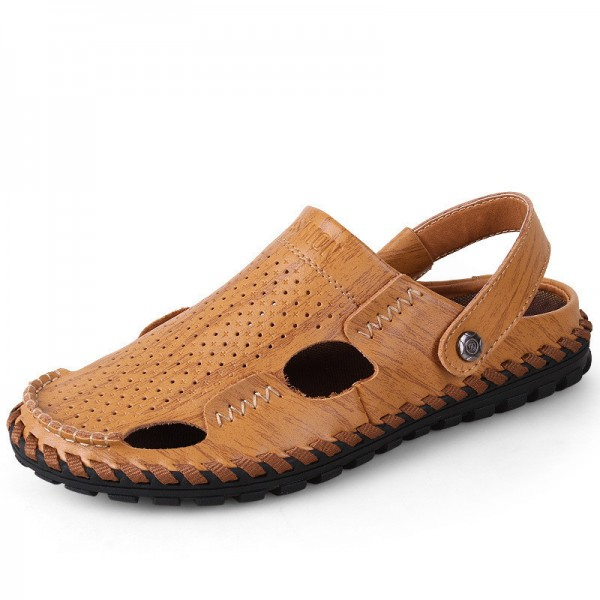 Breathable Summer Roman Men Sandals Genuine Leather Male Beach Shoes Outdoor Slippers Soft Rubber Sandal For Man