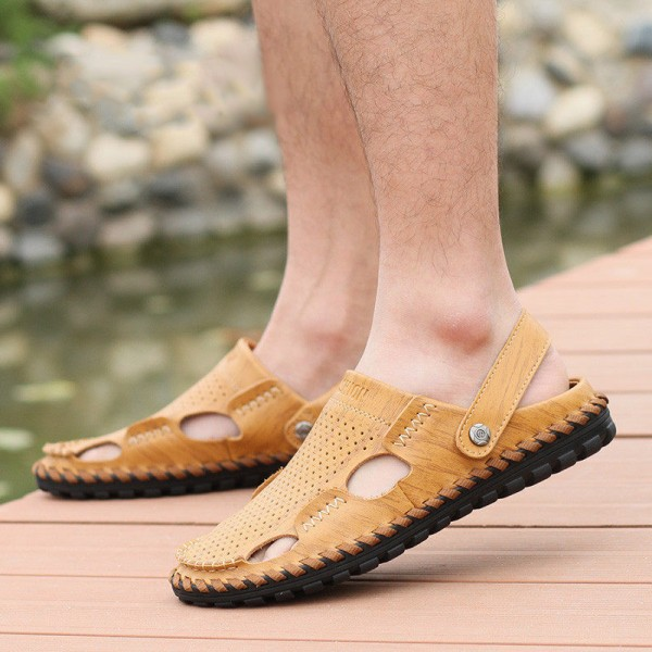 Breathable Summer Roman Men Sandals Genuine Leather Male Beach Shoes Outdoor Slippers Soft Rubber Sandal For Man Extra Image 4