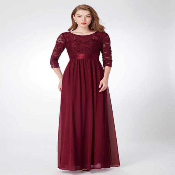 Bridesmaid Dresses Ever Pretty Lace Long Sleeve V Back Long Autumn Winter Burgundy Bridesmaid Dresses For Wedding