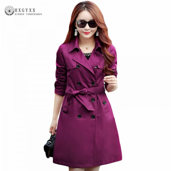British Style Woman Medium Long Trench Spring Autumn New Double Breasted Plus Size Slim Trench Coat With Belt Extra Image 1