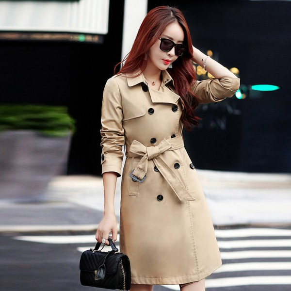 British Style Woman Medium Long Trench Spring Autumn New Double Breasted Plus Size Slim Trench Coat With Belt Extra Image 4