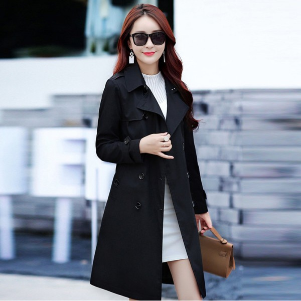 British Style Woman Medium Long Trench Spring Autumn New Double Breasted Plus Size Slim Trench Coat With Belt Extra Image 5