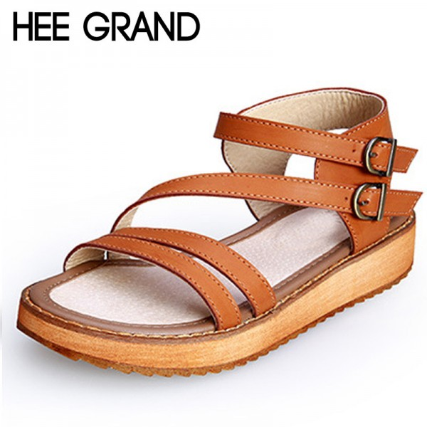 Buckle Strap Gladiator Sandals Summer Platform Flats Slip On Creepers Vintage Shoes Woman Plus Size 35 43 Extra Image 1